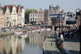 ghent belgium medieval river graslei city center